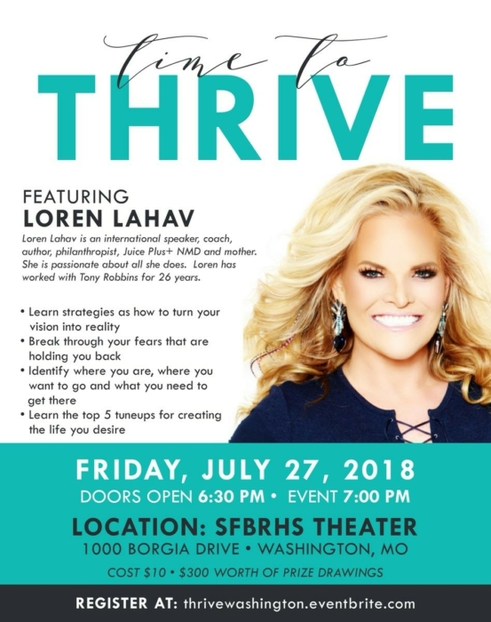 Time to Thrive - Loren Lahav @ SFBRHS Theater | Washington | Missouri | United States